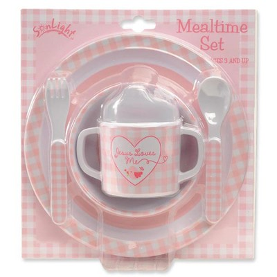 Jesus Loves Me Meal Set, Pink  -
