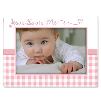 Jesus Love Me Photo Frame, Pink  -
