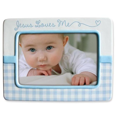 Jesus Love Me Photo Frame, Blue  -