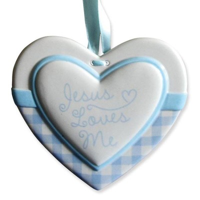 Jesus Loves Me Heart Wall Plaque, Blue  -