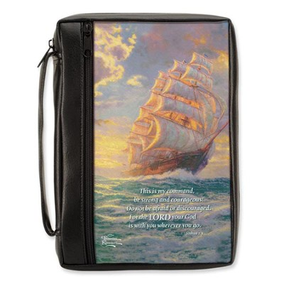 CourgeousVoyage Bible Cover, Large  -     By: Thomas Kinkade