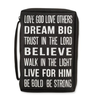 Love God, Love Others Bible Cover, Black, Medium  -