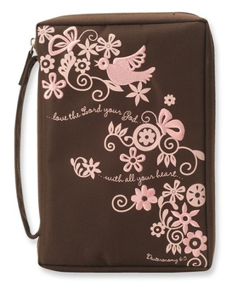 Love the Lord Your God Bible Cover, Pink and Brown, Extra Large  -