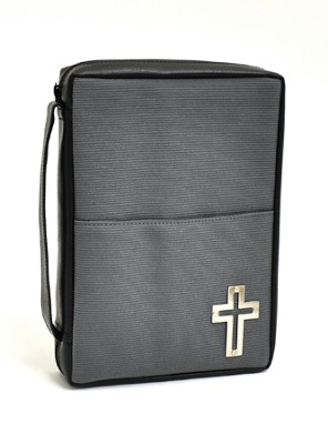 Bible Cover with Metal Cross, Medium         -