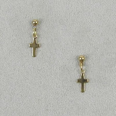Hanging Cross Earrings, Gold  -
