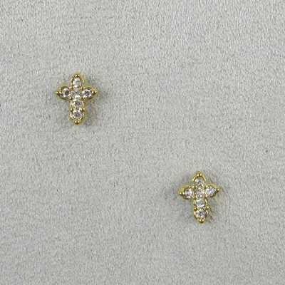 Crystal Cross Earrings  -
