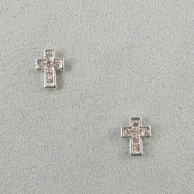Crystal Cross Earrings, Pink  -