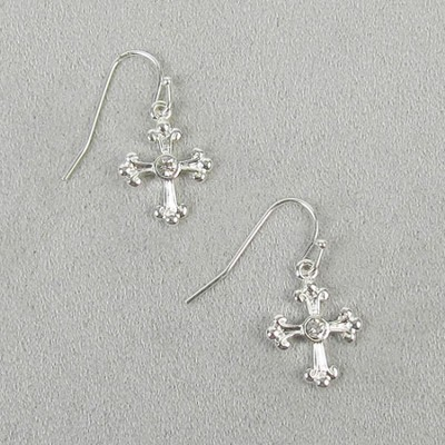 Hanging Crystal Cross Earrings  -
