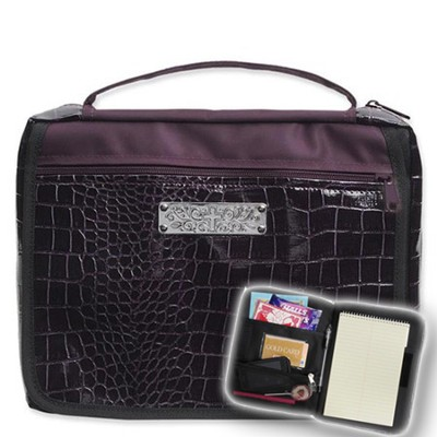 Bible Cover Organizer, Black Croc. and Purple, Large   -