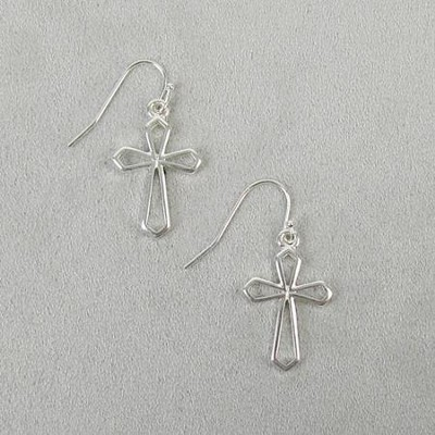 Hanging Cross Earrings, Silver  -