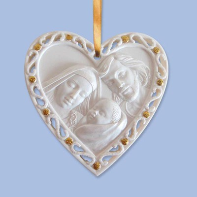 Holy Family, Christ Has Come to Earth Heart Ornament  -
