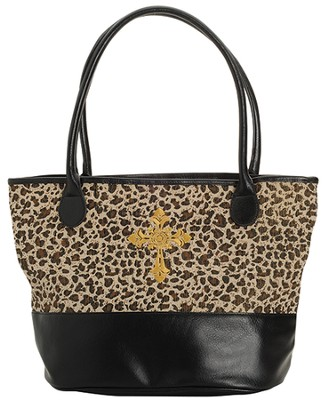 Leopard Tote Bag with Cross  -