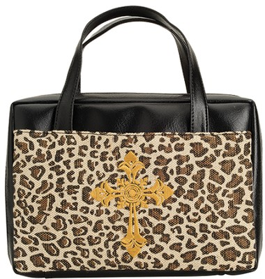 Leopard Bible Cover with Cross, X-Large  -