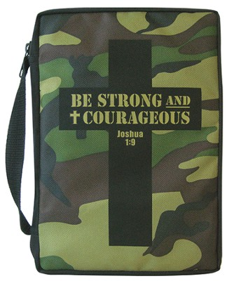 Camo Cross, Be Strong and Courageous Bible Cover  -