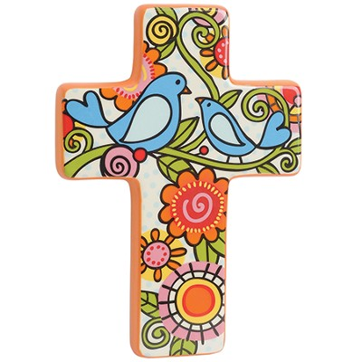 Birds and Floral Wall Cross  -