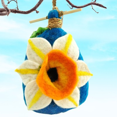 Felt Birdhouse Daffodil, Fair Trade Product  -