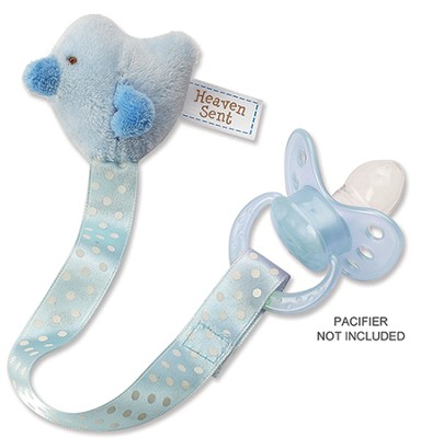 Heaven Sent, Bird Pacifier Clip, Blue  -
