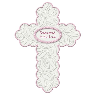Dedicated To the Lord Wall Cross, Pink  -