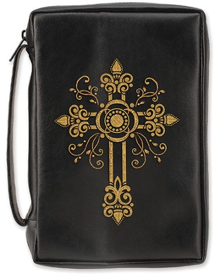 Embossed Fancy Cross Bible Cover, Black, X-Large  -