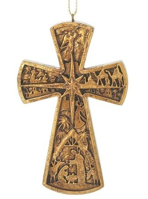 Nativity Cross Hanging Ornament  -