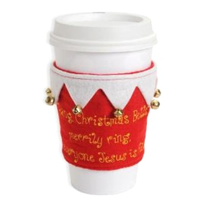 Christmas Bells, Jesus Is King, Embroidered Felt Cup Cozy  -