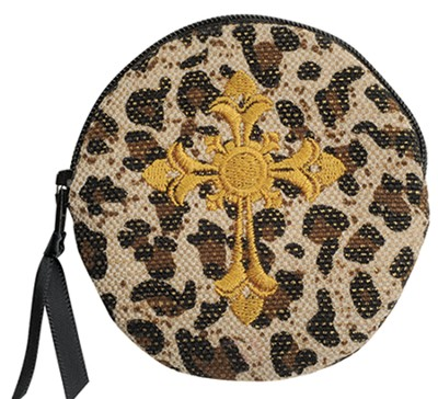 Leopard Coin Purse with Cross  -