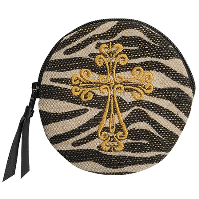 Zebra Coin Purse with Cross  -