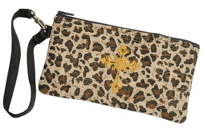 Leopard Wristlet with Cross  -