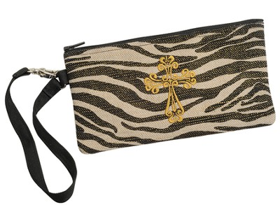 Zebra Wristlet with Cross  -