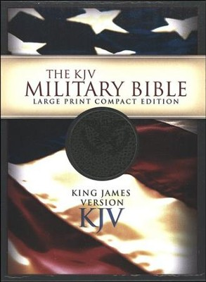 KJV Military Bible, Military Green Simulated Leather Large-Print Compact  -