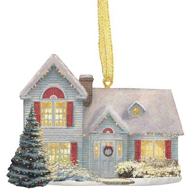 Cottage with Christmas Tree Ornament  -     By: Thomas Kinkade