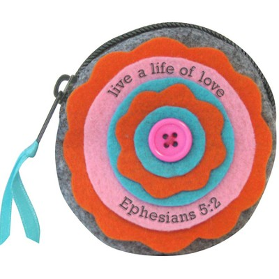 Live A Life Of Love, Felt Coin Purse  -