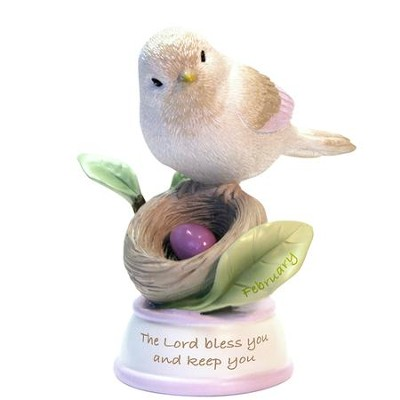 Birthstone Bird Figure, The Lord Bless and Keep You, February  -