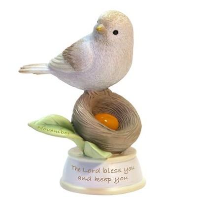 Birthstone Bird Figure, The Lord Bless and Keep You, November  -