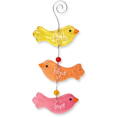 Faith, Hope, Love, Birds Suncatcher  -