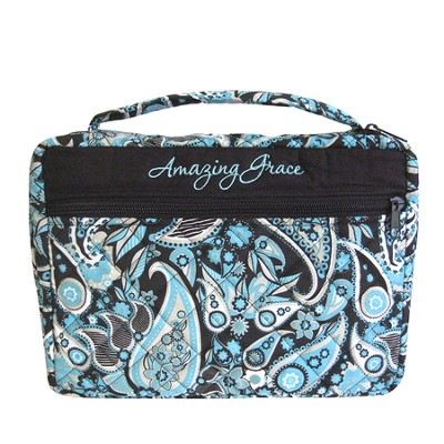 Amazing Grace Bible Cover, Blue Paisley, Large  -