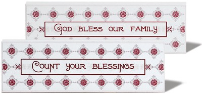 Count Your Blessings, God Bless Our Family Reversible Plaque   -