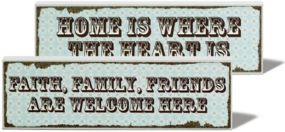 Home is Where the Heart is, Welcome Here Reversible Plaque   -