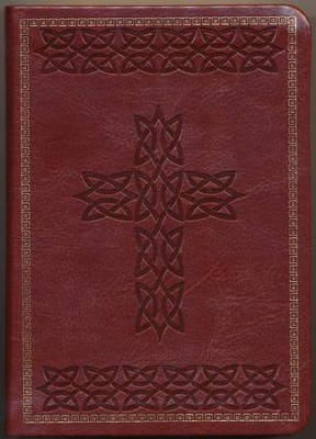 KJV Large Print Compact Cross Design Bible, Brown  -