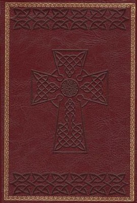 KJV Large Print Compact Cross Design Bible, Burgundy  -
