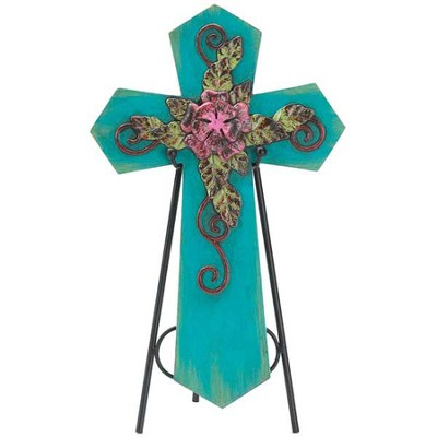 Decorative Cross Plaque with Easel, Teal  -