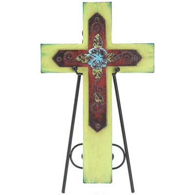 Decorative Cross Plaque with Easel, Green  -