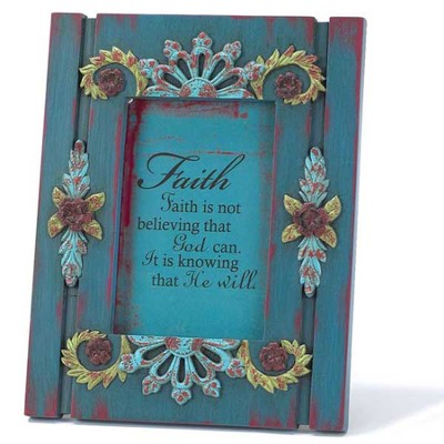 Faith Is Blue Floral Plaque  -