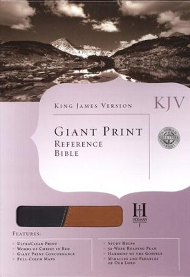 KJV Giant Print Reference Bible, Black/Tan Duotone Simulated Leather  -