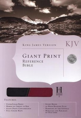 KJV Giant Print Reference Bible, Black/Burgundy Duotone Simulated Leather  -