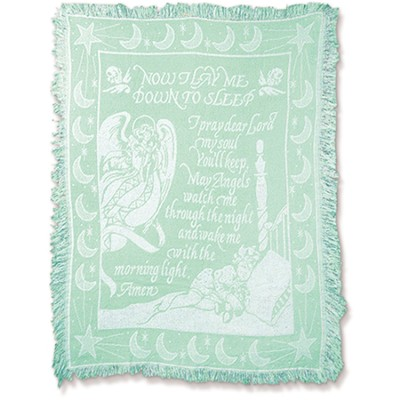 Now I Lay Me Down To Sleep, Tapestry Throw (Mint Green)   -