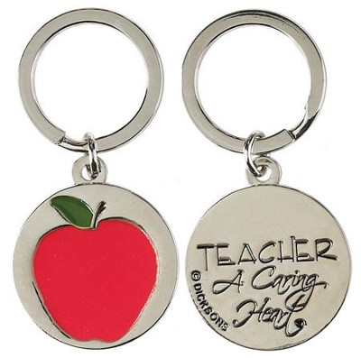 Teacher A Caring Heart Apple Keyring  -