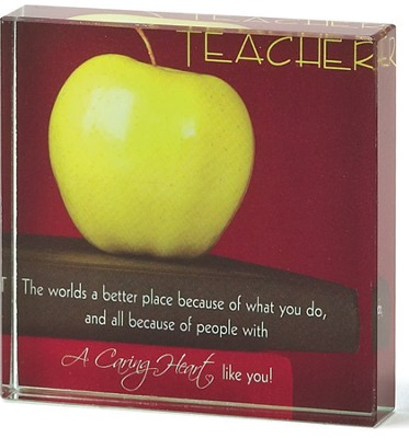 Teacher A Caring Heart Glass Plaque  -