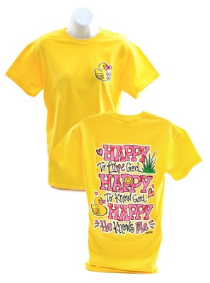 Girly Grace, Happy To Know God Shirt, Yellow, Medium  -