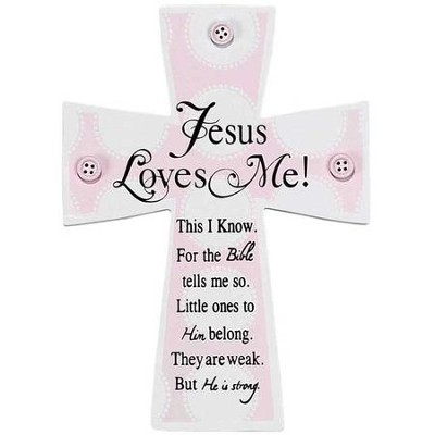 Jesus Loves Me Wall Cross, Pink  -